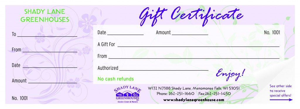 Image of gift certificate.